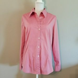 Red Button Down Long Sleeve Cotton Stretch Shirt